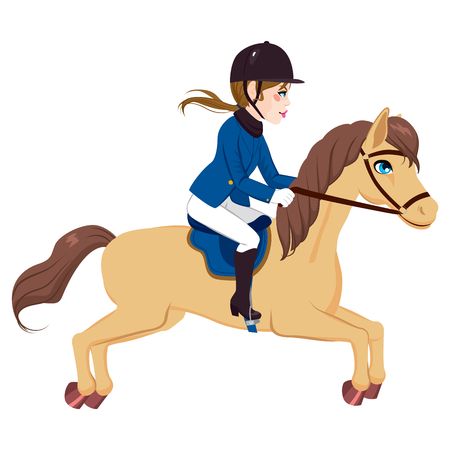 Beautiful equestrian woman riding and running with horse