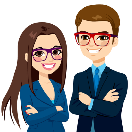 woman  glasses: Attractive businessman and beautiful businesswoman partners standing together with crossed arms