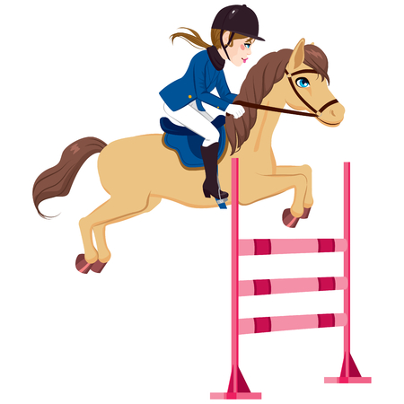 Equestrian young woman jumping obstacle with horse on show