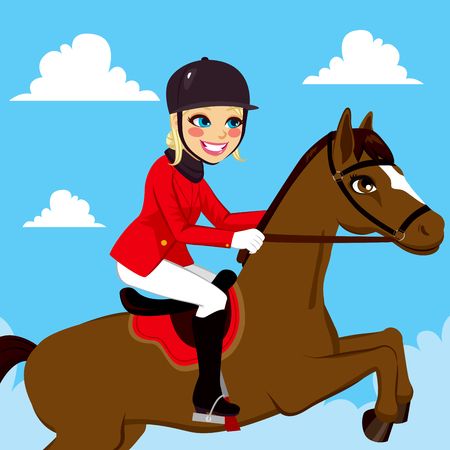 Beautiful equestrian woman riding and jumping with horse on blue sky background
