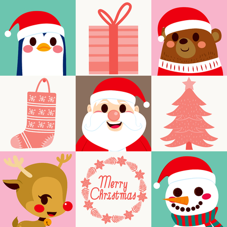 cute cards: Cute Santa Claus character with lovely animal and Christmas elements cards set collection