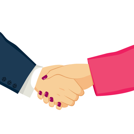 Ilustración del hombre de negocios y empresaria agitando las manos en un acuerdo exitoso