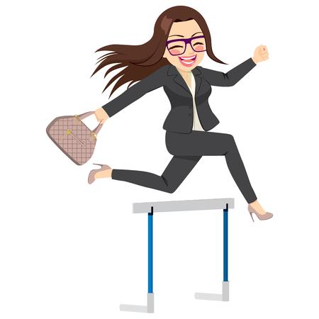 Happy businesswoman skakanie próg wykluczający udaną koncepcję przezwyciężenia trudności w biznesie