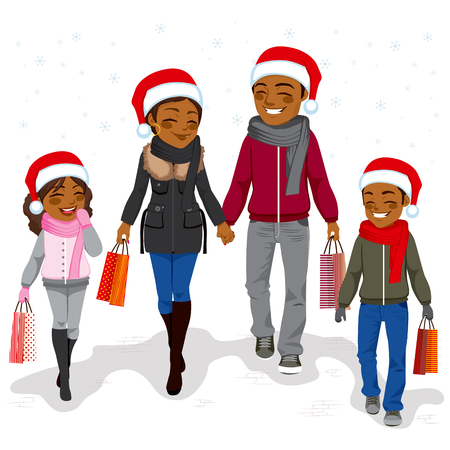 african american family: Happy African American family going Christmas shopping together with Santa Claus hats and holding bags