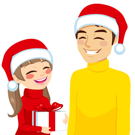 Family illustration of daughter giving or receiving gift from dad on Christmas day