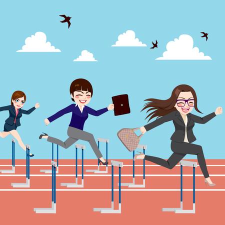 competencia: Pequeño grupo de empresarias concepto de competición de salto obstáculos en la carrera competitiva de negocios