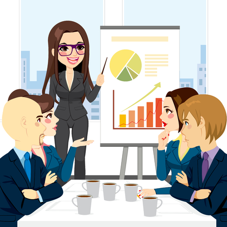 conference table: Businesswoman on a meeting with group explaining information graphics on flip chart