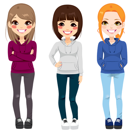 Full body illustration of three happy young teenagers girls from different ethnicity smiling with casual outfit posing together Ilustração