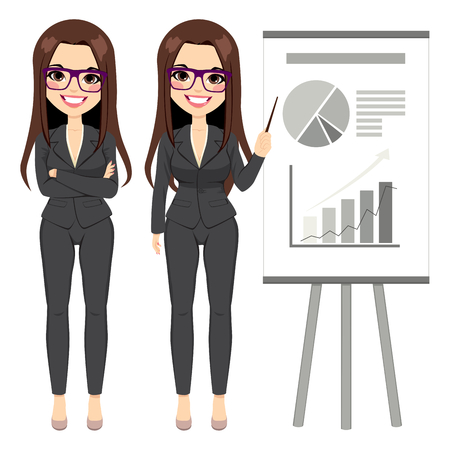 Belle femme d'affaires brune portant costume sombre pointant flip chart avec différents graphiques