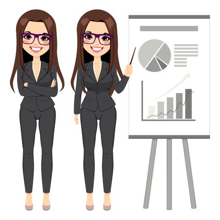 Schöne Brünette Unternehmerin trägt dunklen Anzug zeigt Flip-Chart mit verschiedenen Grafiken
