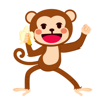 active: Happy funny active monkey holding banana fruit Illustration