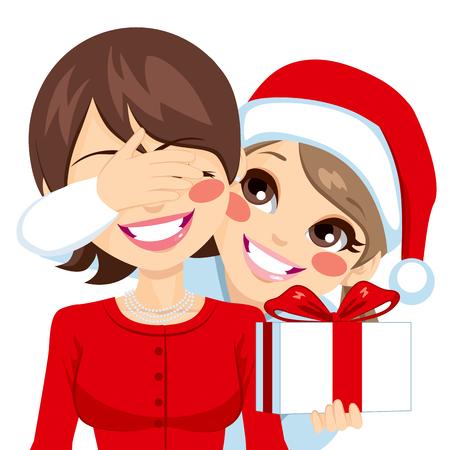sorpresa: La peque�a hija sonriente que cubre sus ojos madre feliz el d�a de Navidad que oculta regalo sorpresa Vectores