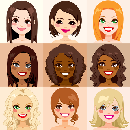 Group of diversity women with different skin color 일러스트