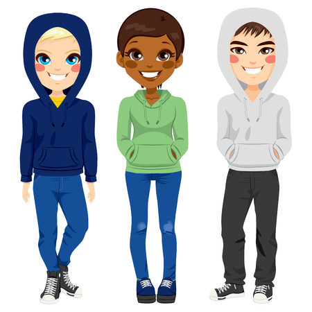 Full body illustration of three happy young teenagers boys and girl from different ethnicity smiling with casual outfit posing together Illustration