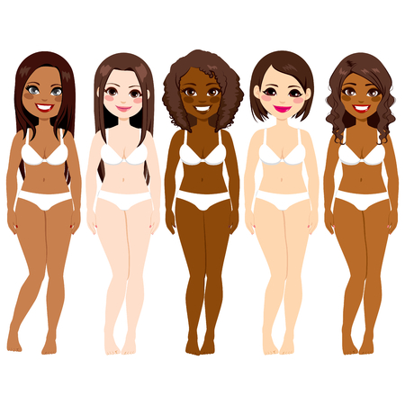 jungen unterw�sche: Kleine Gruppe von Vielfalt sch�nen Frauen tragen wei�e Unterw�sche