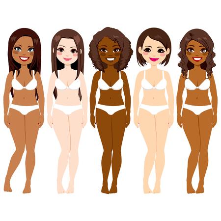 ropa interior niñas: Pequeño grupo de mujeres diversidad hermosa que desgasta la ropa interior blanca