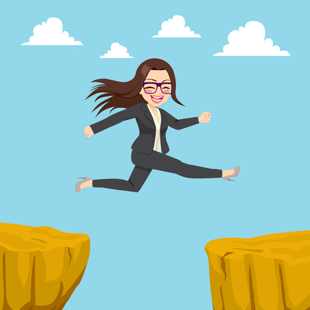 Illustration of happy businesswoman jumping through cliff gap concept