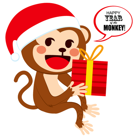 christmas present box: Cute happy monkey wearing Santa Claus hat on Christmas with big red box present