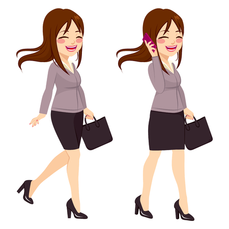 talking phone: Two action happy young walking businesswoman answering phone call Illustration