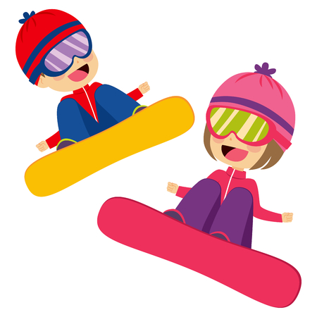 siblings: Happy cute boy and girl siblings jumping with snowboard