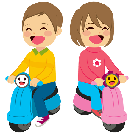 baby toy: Cute little child baby boy and girl with toy motorcycle riding
