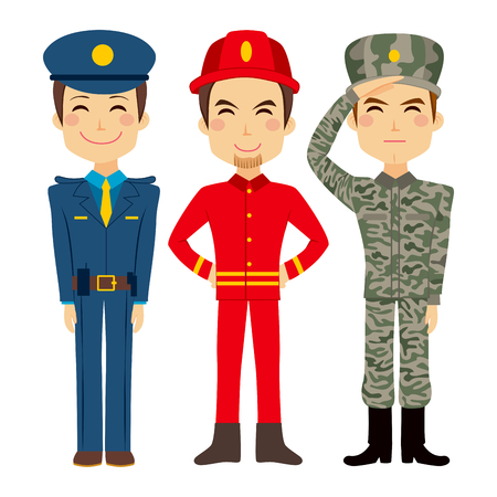 bombera: Ilustración de tres jóvenes de pueblo trabajador personajes de diferentes servicios públicos y las profesiones militares