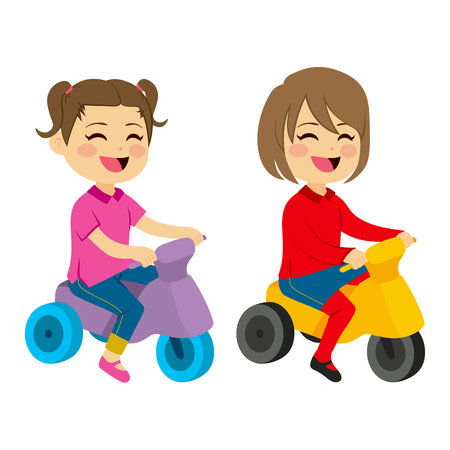 tricycle: Two cute happy girls with tricycle playing together