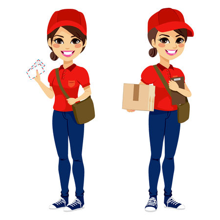 in uniform: Todo el cuerpo joven mujer post entrega de correo y paquetes con la bolsa de cuero y carpeta con uniforme rojo