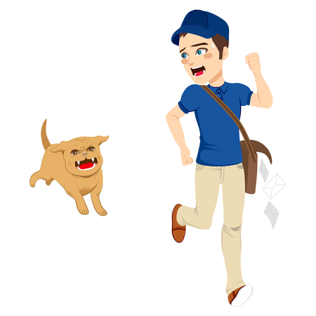 dangerous man: Helpless postman running away from dangerous angry dog