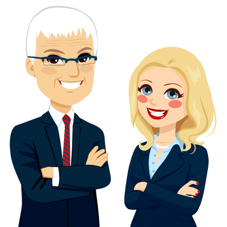 crossed arms: Senior businesspeople partners standing together with crossed arms Illustration