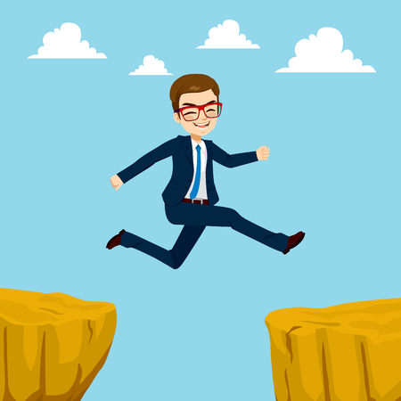 gap: Illustration of happy businessman with blue suit jumping through cliff gap concept
