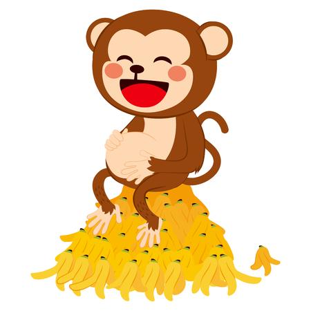 comiendo platano: Ilustración de la divertida mono vientre roce en la parte superior de un montón de cáscaras de plátano comido Vectores