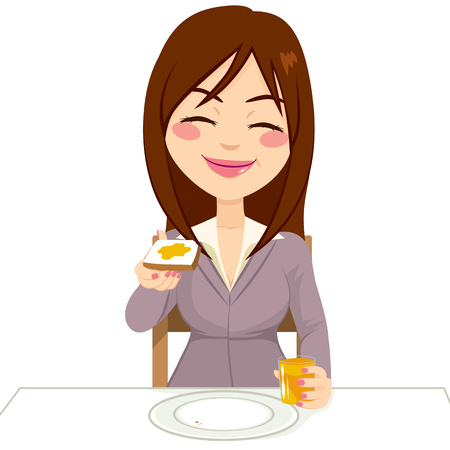 おいしいバター トーストを食べたり飲んだり、オレンジ ジュースの朝食を食べて幸せな美しいブルネット女