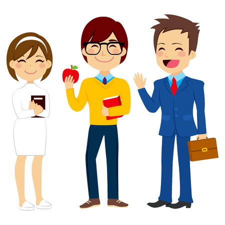 young worker: Illustration of three young worker people characters of different profession