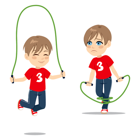 clumsy: Two action boy learning jumping rope happy and sad