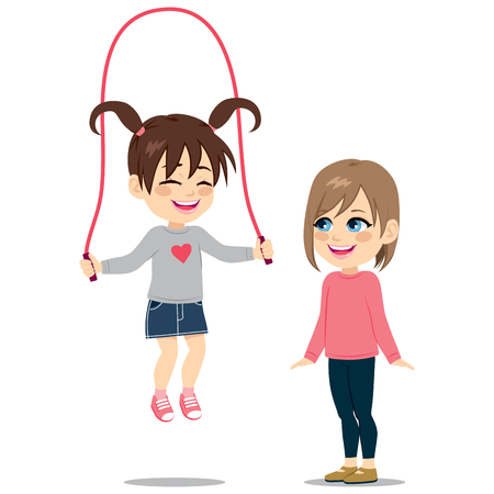 brown haired girl: Lovely brunette girl playing with rope with cute light brown haired friend watching