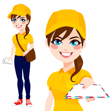 yellow shirt: Beautiful post woman delivering mail with leather bag wearing yellow shirt uniform