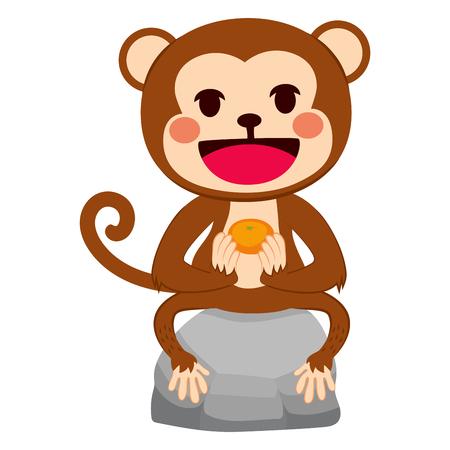 mandarin orange: Illustration of funny monkey sitting on stone with mandarin orange tangerine fruit on his hands Illustration
