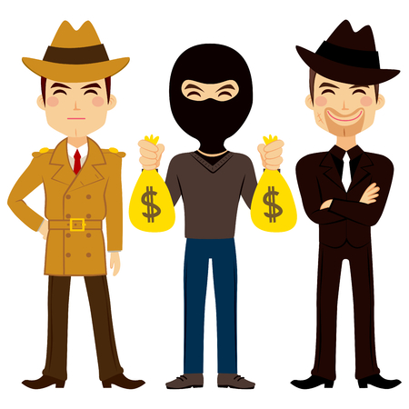 finance department: Illustration of three young crime profession people characters