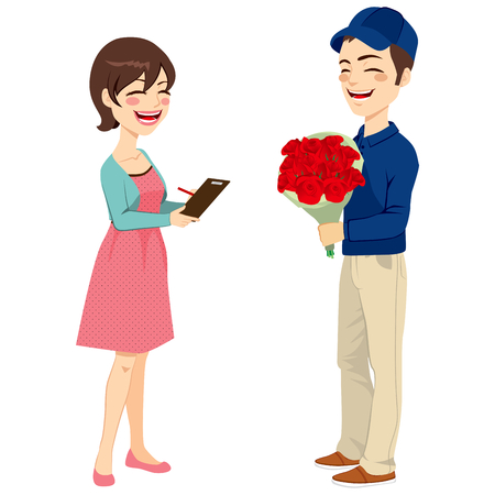 Happy young postman delivering flowers to beautiful housewife woman signing receipt