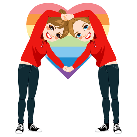 girlfriend: Two beautiful young women making heart symbol with arms together with red shirt uniform and dark jeans on valentine day and heart symbol on background with rainbow heart flag shape
