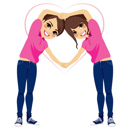 Two beautiful young girls making love shape with arms together with pink shirt uniform and blue jeans on valentine day Illustration