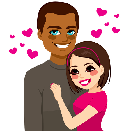 Portrait of young happy interracial couple love hugging