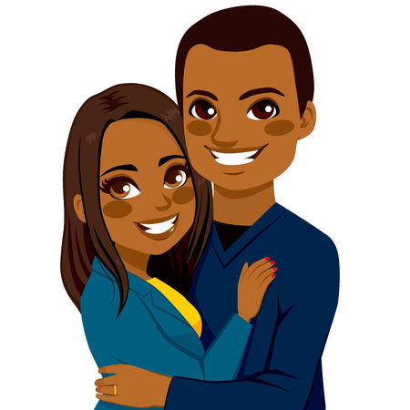 saint valentine: African American couple hugging together dating on Saint Valentine Day