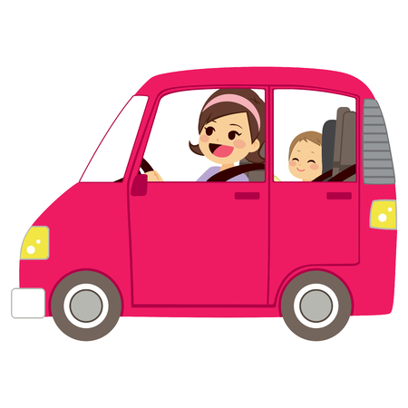 Beautiful young mom driving pink car with baby on back seat of vehicle