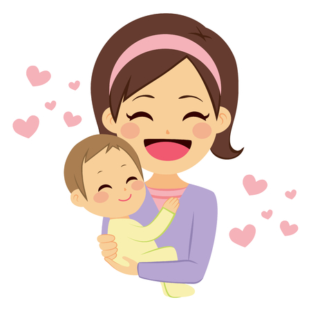 Young cute happy mother smiling hugging lovely baby with pink hearts