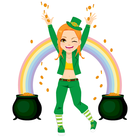 irish woman: Young happy girl dressed with leprechaun costume sharing golden coins money Illustration