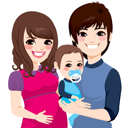 wife: Portrait of a happy Asian couple smiling with wife pregnant and husband holding little baby boy
