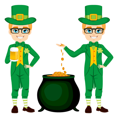 saint: Young boy with leprechaun costume celebrating Saint Patrick with golden beer and cauldron full of gold money coins Illustration