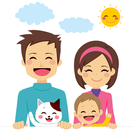 family pet: Cute happy family of three members smiling with pet cat holding white banner